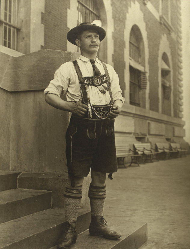 Bavarian (German) man emigrating to the US (and he looks a lot like me except I don't wear lederhosen, suspenders, etc.)