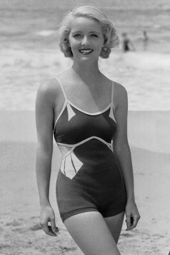Young Bette Davis at the beach