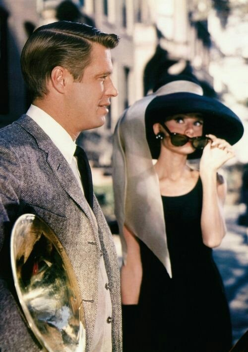 "George Peppard and Audrey Hepburn in Truman Capote's ""Breakfast at Tiffany's"""