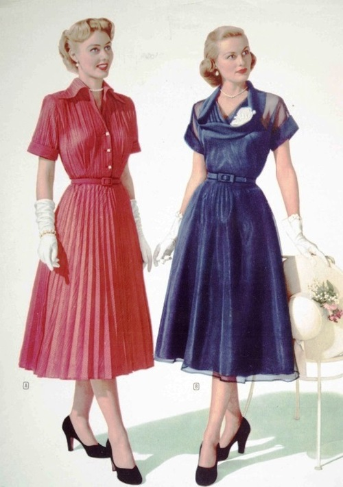 Sensible dresses and gloves, circa1950