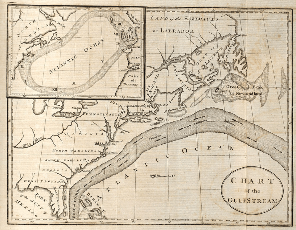 Very old map of the Gulf Stream in the Northwest Atlantic Ocean
