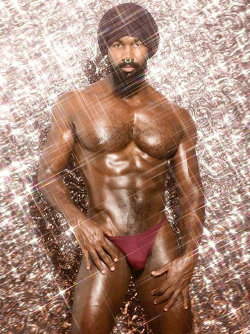 Gratuitous Shirtless Sparkling (!) IndianModel