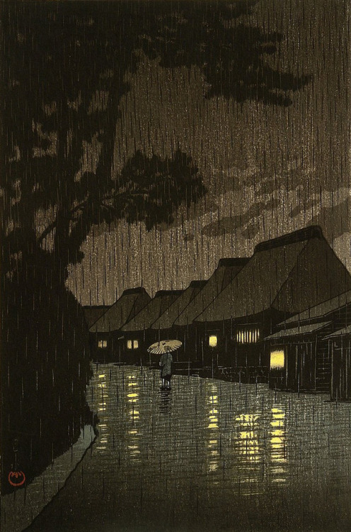 """Rainy Night at Maekawa"" by Hasui Kawase,1932"