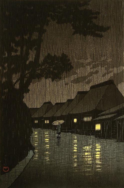 "Hasui Kawase: ""Rainy Night atMaekawa"""