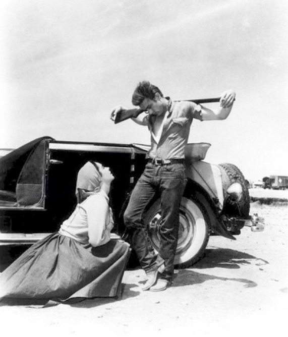 "Elizabeth Taylor and James Dean in ""Giant"""