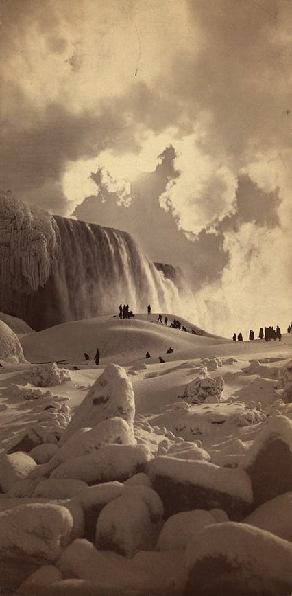 Niagara Falls frozen over, photo by George Barker, 1883