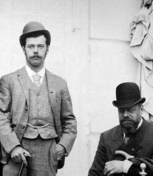 Young Nicholas II with his father, Tsar AlexanderIII