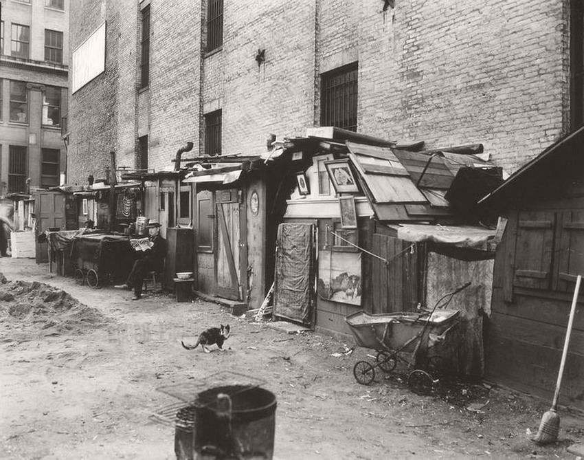 Huts for the homeless, NYC during the Great Depression,1930s