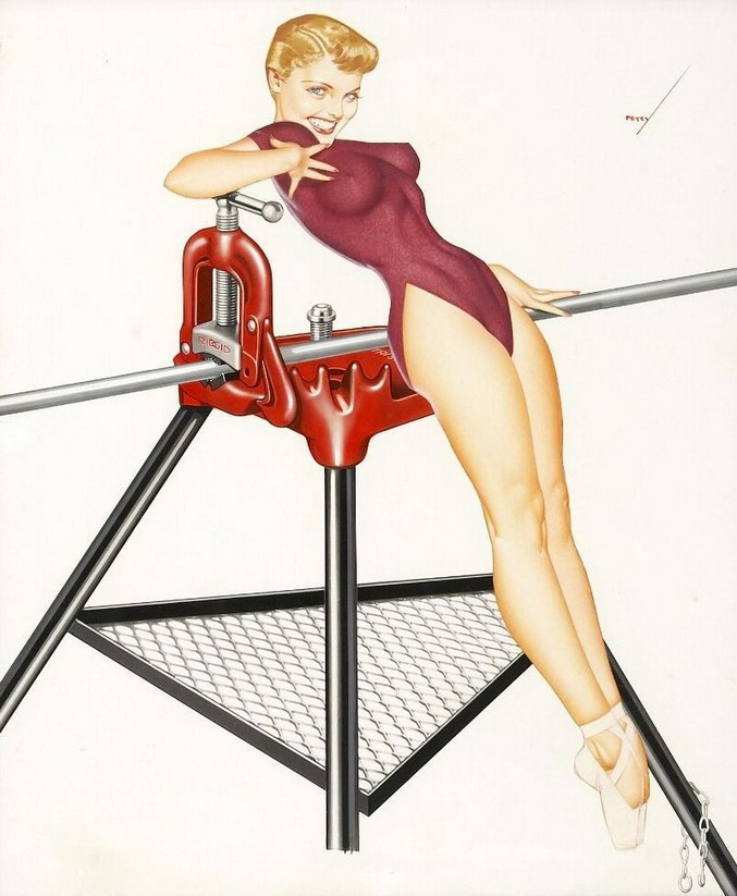 Pinup illustration for the Rigid Tool Co.'s calendar, by George Petty (1940s?)