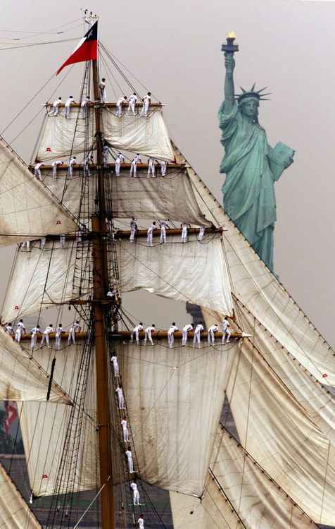 "Chilean tall ship ""Esmeralda"" sailing by the Statue of Liberty, NYC"