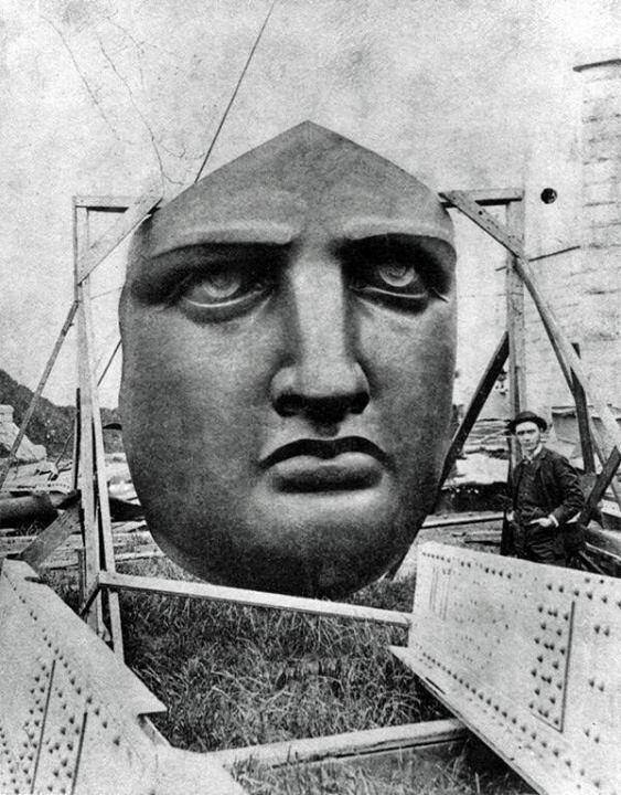 The face of the Statue of Liberty being made in France