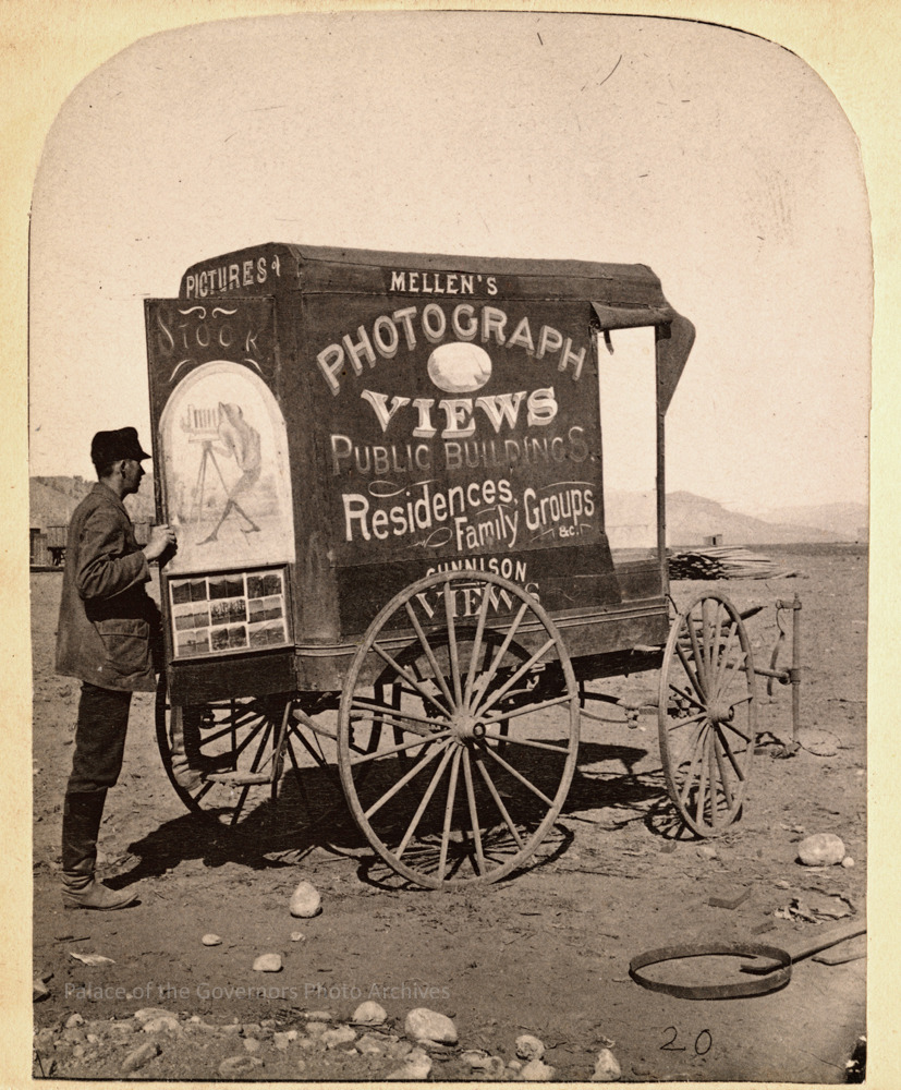 Traveling photographer and his wagon,1800s