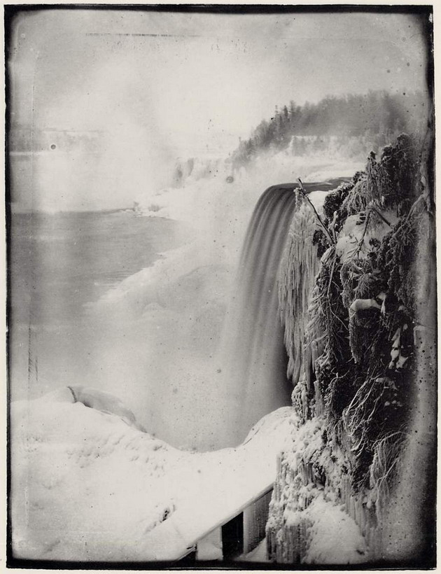 Old picture of waterfalls in winter, Niagara Falls I think