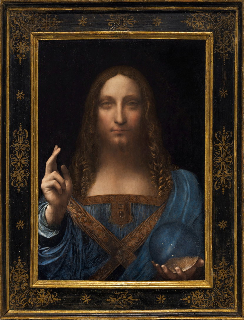 "Restored version of an alleged ""lost"" Leonardo Da Vinci painting of Jesus (recently sold at auction for 100's of millions of US dollars)"