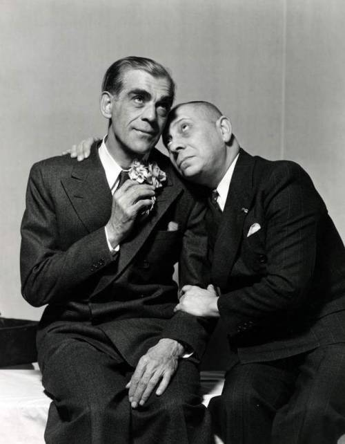 "Boris Karloff and Erich von Stroheim in a promo shot for ""Arsenic and Old Lace"", Fulton Theatre, 1941"
