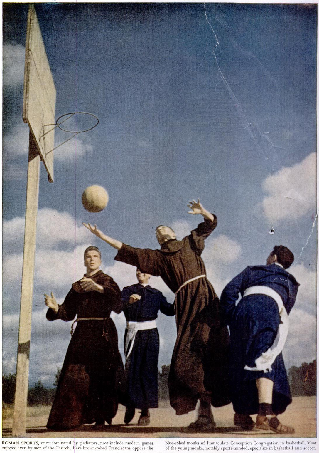 Monks playing a silent game of basketball with a volleyball