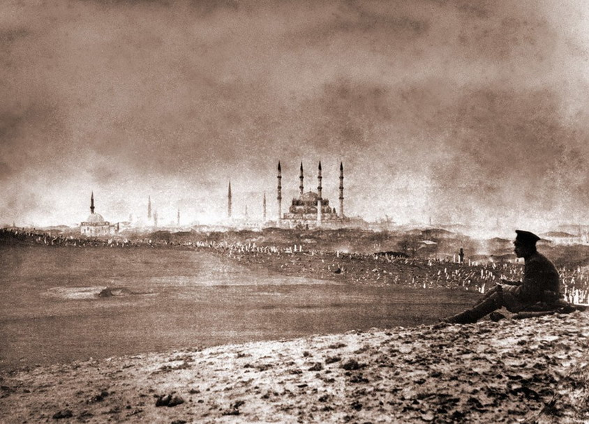 Russian soldier looking over Selimiye Mosque in Edirne, Turkey, 1878