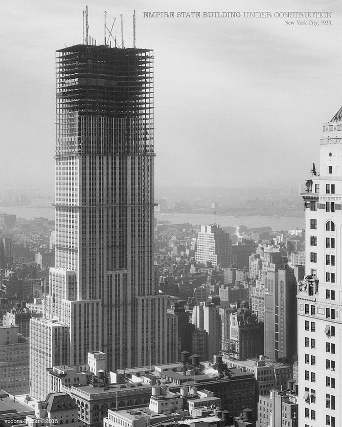 Empire State Building under construction, NYC,1930