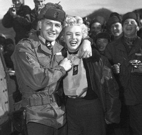 Marilyn Monroe visiting the US troops, Korean War, early 1950s