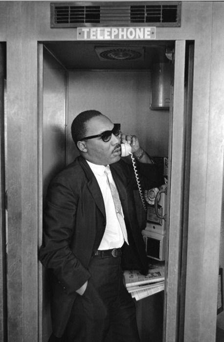 Martin Luther King Jr. in a phonebooth