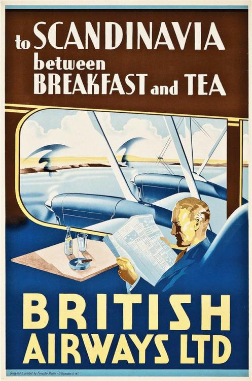 To Scandinavia between breakfast and tea, British Airways,1930s