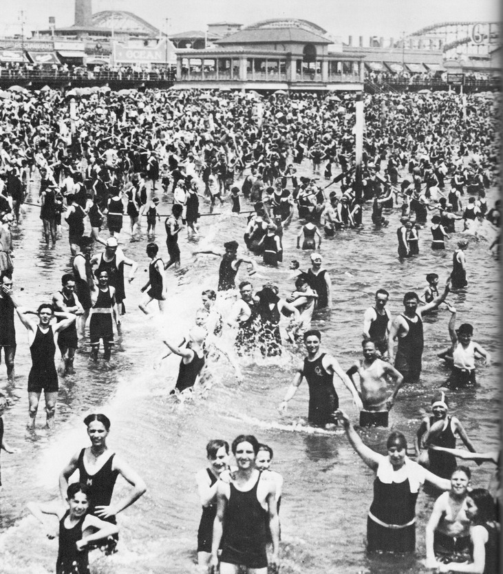 Swimmers at Coney Island, NYC, early 1920s