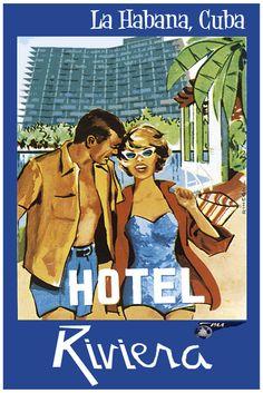 Tourist poster for Cuba, pre-Revolution,1950s