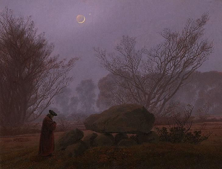 """A Walk at Dusk"" by German artist Caspar David Friedrich,1830s"