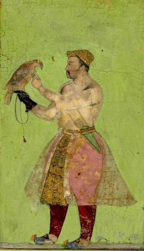 Portrait of a Mughal emperor with a falcon, India