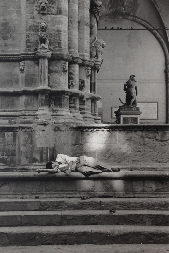 Man taking a nap, Florence, Italy