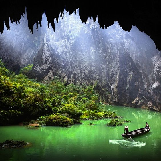 Fishing in a cave, Vietnam