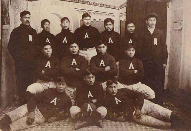 Native Alaskan football team, early1900s