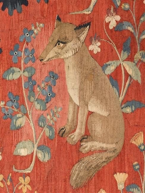 Close up of a fox in atapestry