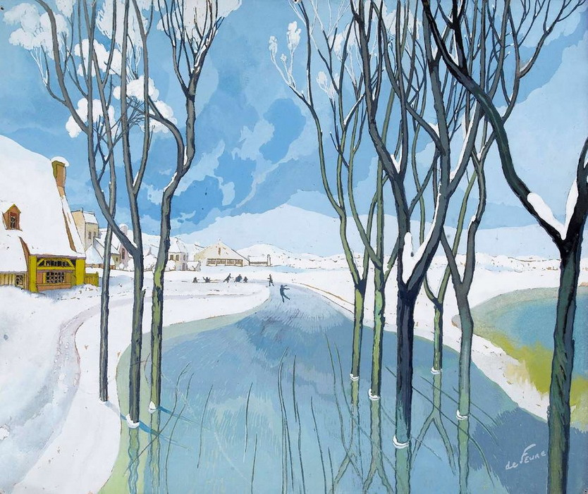 Winter scene by French artist Georges deFeure