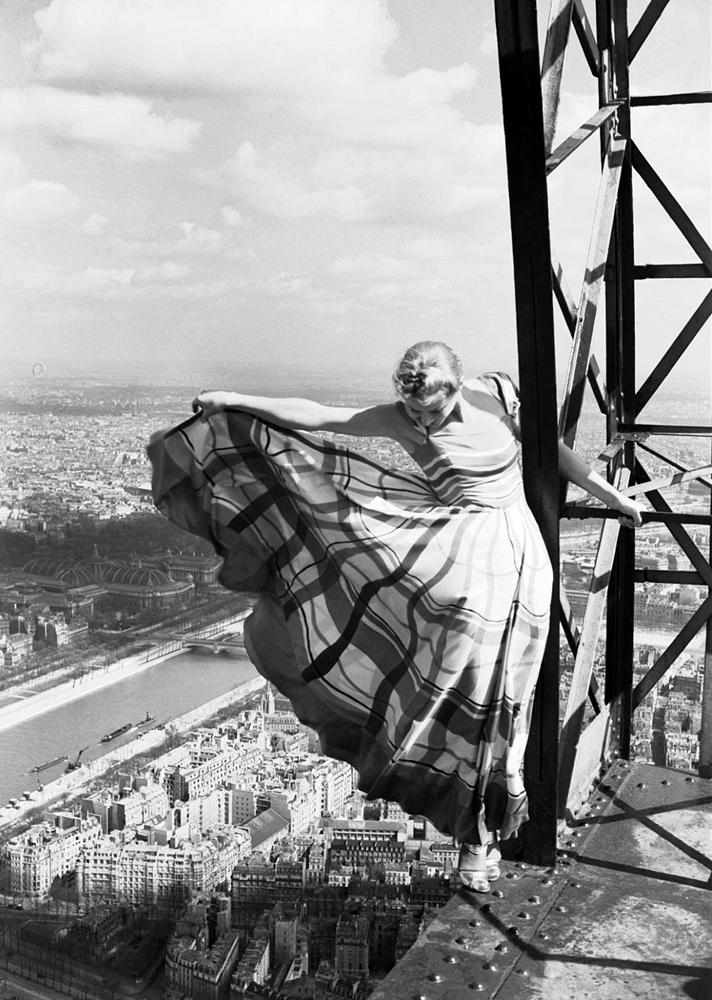 Lisa Fonssagrives on the Eiffel Tower, Vogue, Paris,1939