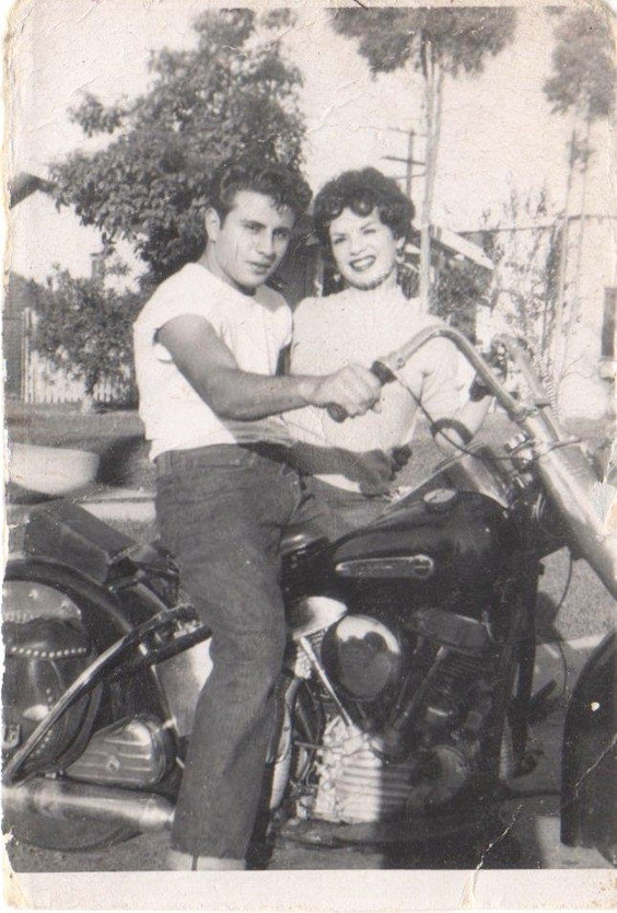 Vintage motorcycle couple