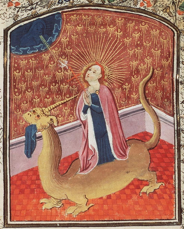 Saint Margaret of Antioch, popping out of the dragon that ate her