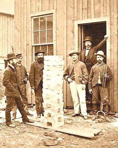A stack of pure silver bars, Colorado,1800s