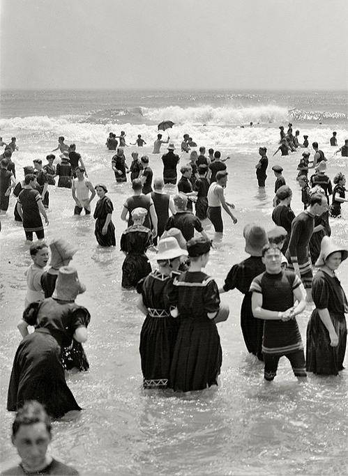 Swimmers at the beach, New Jersey, circa 1905