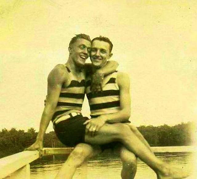 Men Together in old timeswimwear