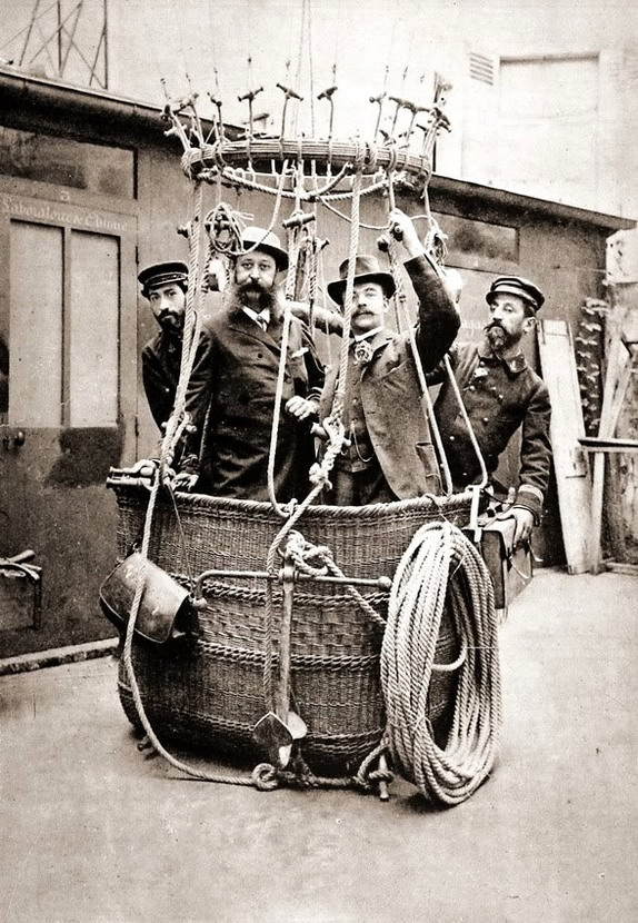 Gentleman about to embark on a hot air balloon trip,1800s