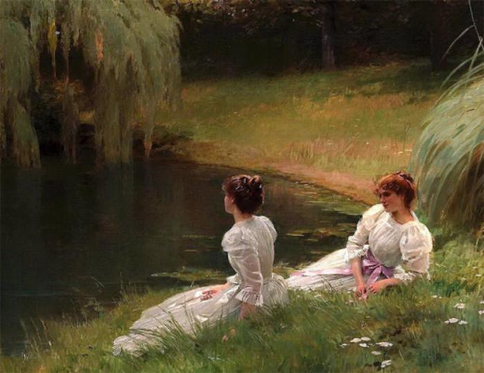 """""""Élégant chers au repos à côté d'un étang"""", par Louis EmileAdan"""