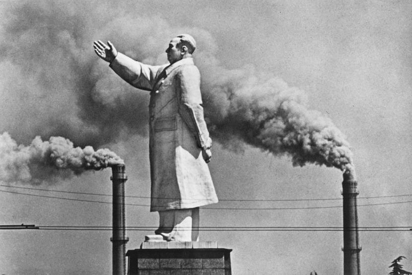 Chairman Mao statue with factory smokestacks, China,1971
