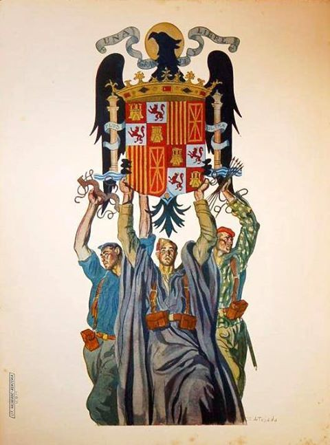 Spanish fascist poster promoting Spanish territorial unity during the Civil War, 1930s