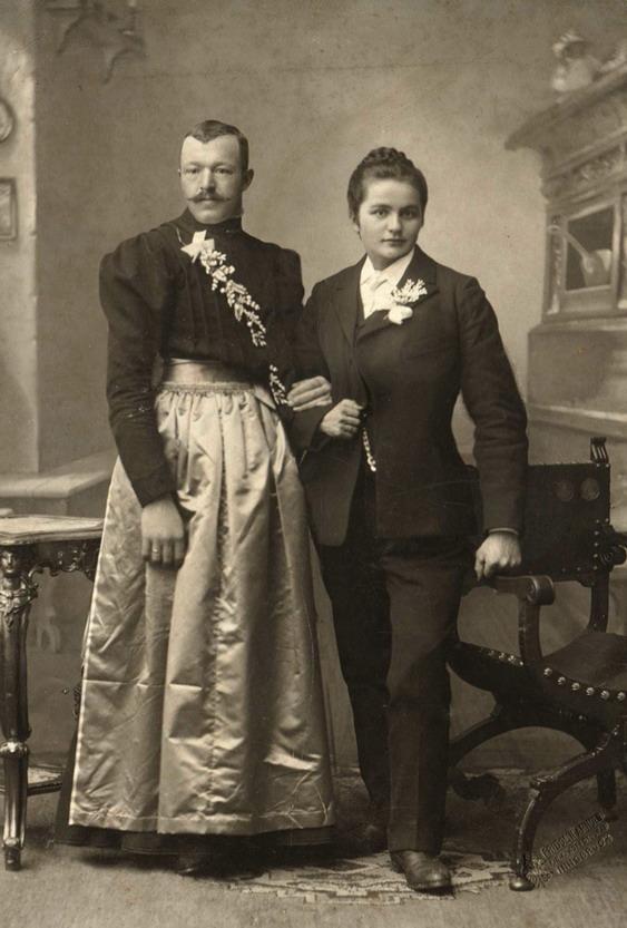 Cross-dressing couple, 1800s