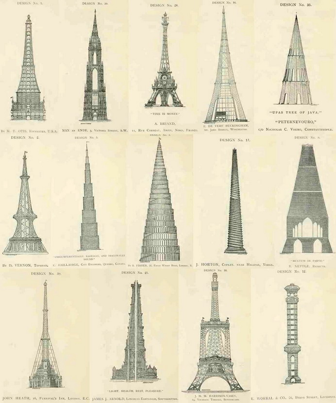 Alternate designs for the Eiffel Tower that were notselected
