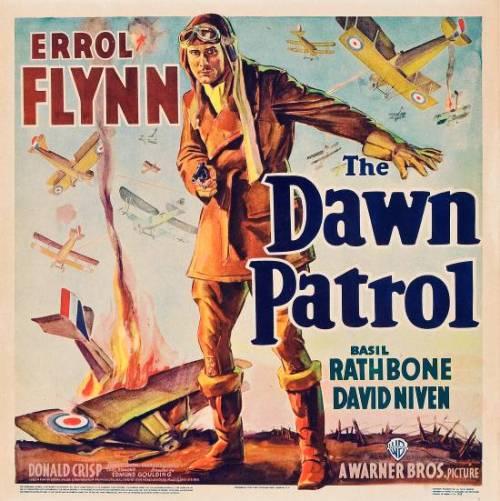 """Errol Flynn, Basil Rathbone, & David Niven in """"The DawnPatrol"""""""