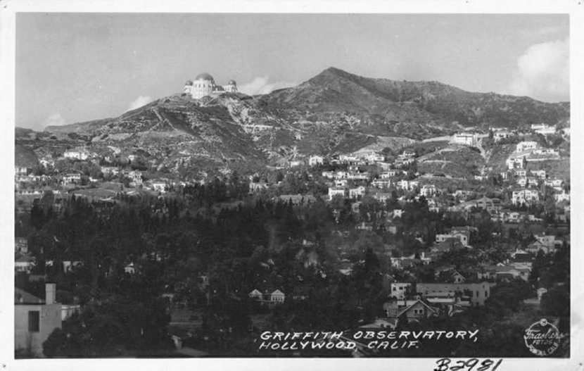 "Hollywood Hills, California, before the ""Hollywood"" sign was put up to the right of the observatory"