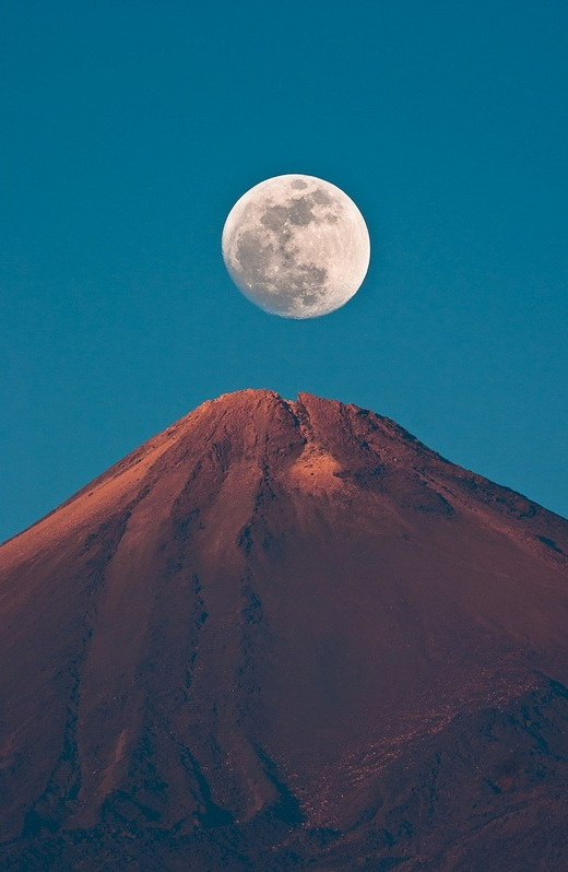 The moon and a mountain