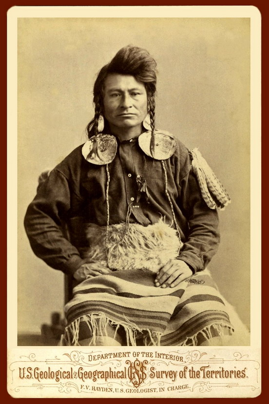 "Native North American man photographed during the US ""Survey of the Territories"""